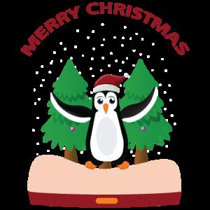 Pinguin wünscht Merry Christmas