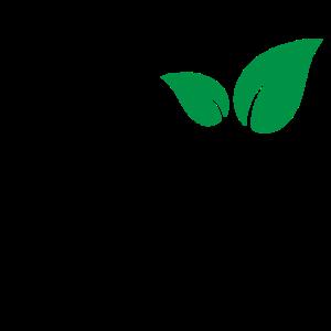 Vegan Logo mit grünen Blätter / green leaves vegan