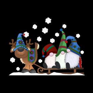 Weihnachtsgnome mit Rentierschlitten