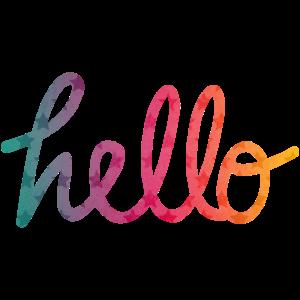 Hello Typografie Regenbogen