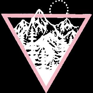 Dreieck mit Bergen und Vögel