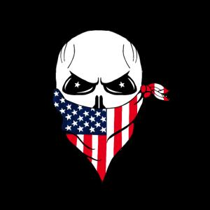 Totenkopf mit US Flaggen Halstuch, handgemalt