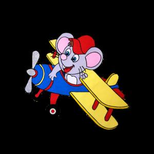 Maus im Flugzeug, handgemalt