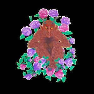 Rosenteufel, handgemalt