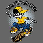 Squelette et skateboard