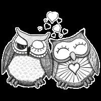 Verliebte Eulen Paar