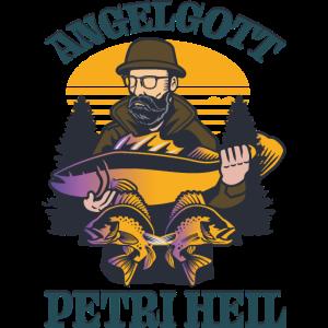 Angler Fischer Petri Heil Sportfischer Angelgott