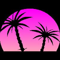 Pinker Sonnenuntergang mit Palmen