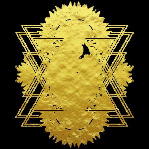 Minimalistisches Mandala Design in Gold