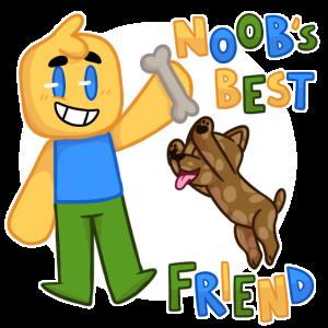 Handgezeichnete Roblox inspirierte Charakter mit Hund