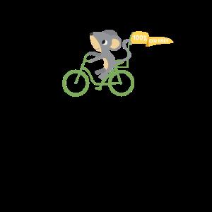 Maus auf Fahrrad - Grüne Mobilität CO2 Frei fahren