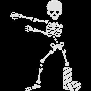 Gebrochenes Bein Gips Skelett floss dance flossing