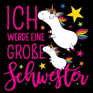 Große Schwester Einhorn Einhörner pink Sterne Bunt