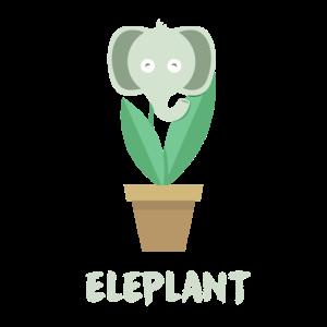 Elefant im Blumentopf