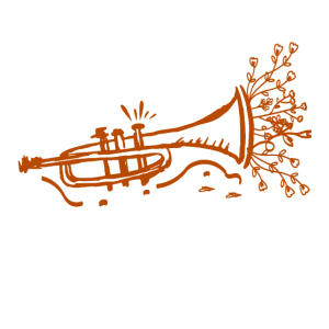 Trompete - Kunstvoll - Blumen - Zeichnung