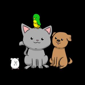 Haustiere Hund Katze Vogel Maus