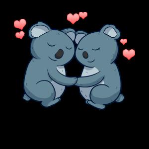 Love Koalas Süß Verliebt Liebe Kuscheln Umarmung