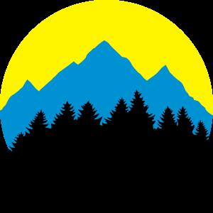 Berge, Wald, Mond/Sonne