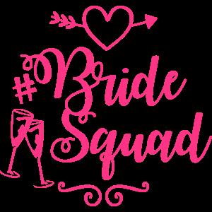 bride squad heart champagne