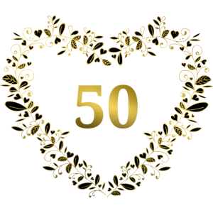 50. Jubiläum, Geburtstag oder Jahrestag - Herz