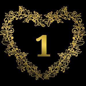 1 Geburtstag Jubiläum Jahrestag Herz