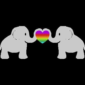 Süße Baby Elefanten Regenbogen Herz