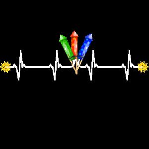 Herzschlag Puls mit Raketen- Zündschnur brennt