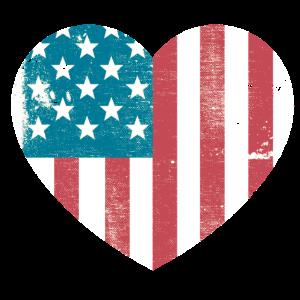 USA United States Flagge Herz Retro America Love