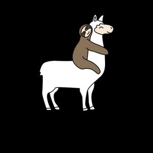 Faultier Alpaka Lama Schläft Reitet Riding