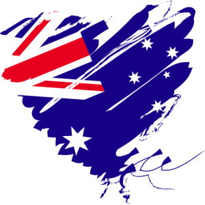 Australien Sydney Kontinent Grunge Herz Fahne