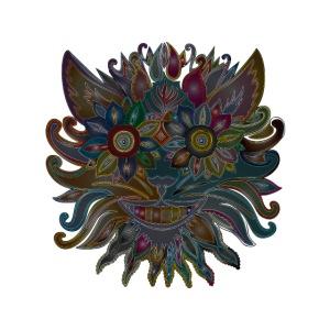 MonkeyShy visage sombre en fleurs multicolores