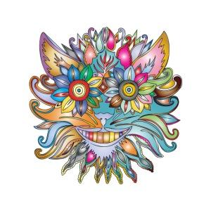 MonkeyShy visage en fleurs multicolores symétrique