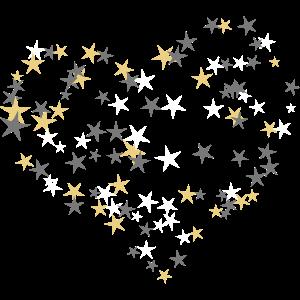 Sterne bilden ein großes Herz