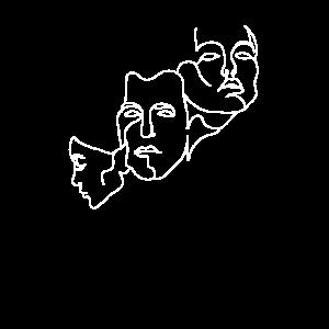 Ein Strich Eine Linie Linienkunst Gesichtzeichnung