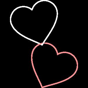 Zwei Herzen hängen zusammen