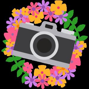 Kamera um einen Blumenkranz