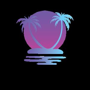 Vaporwave Palm Tree Sunset Aesthetic 80s