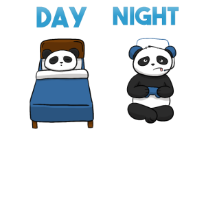 Day Night Gaming Panda Gamer Fun Kid Kinder