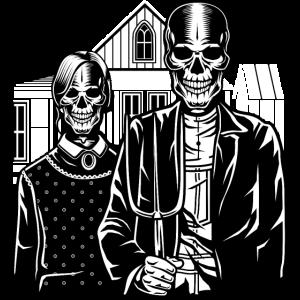 Halloween T-Shirt Design American Skull Gothic