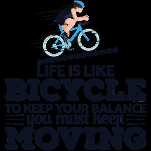 Das Leben ist wie ein sportliches Fahrrad