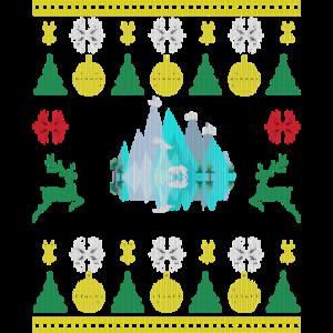 Blaue Eis Berge mit Eisbär Knitternde Sweater Look