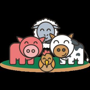 Farm Tiere Schwein Huhn Kuh Schaf Tier Kind Baby