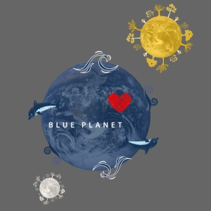 Blue Planet with Sun and Moon