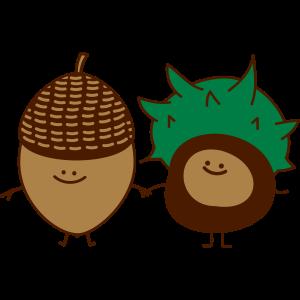 Eichel und Kastanie