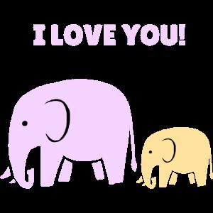 Ich liebe dich auf Englisch mit Elefant