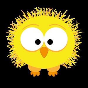 Zerzauster komischer Vogel, gelb