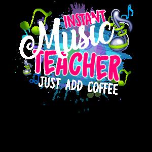 Sofortiger Musiklehrer addieren gerade Kaffee
