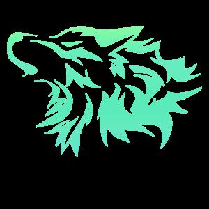 Wolf leuchtend grün