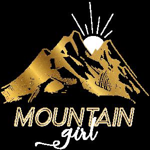 Into the Mountains Girl Berge Frauen Geschenk Gold