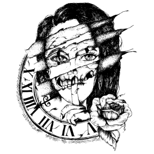 Watch Girl Rose Uhr Frau Schädel Totenkopf Woman